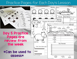 Practice pages for each day