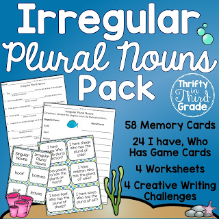Learn about irregular plural nouns using these fun activities! Memory cards, creative writing challenges, and I have Who Has game cards.