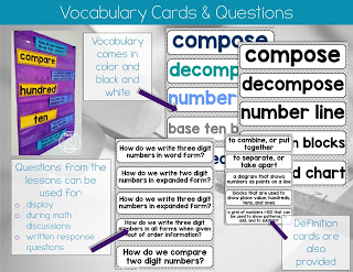 Vocabulary and definitions for 2nd grade math