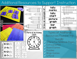 Notebooks and games for first grade math
