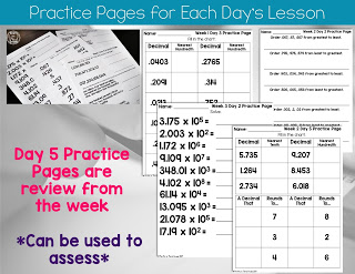Daily practice pages for 5th Grade Guided Math