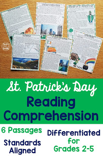 Reading Comprehension passages and standard aligned activities to learn about St. Patrick's Day!