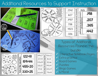 Interactive notebook pages and games for 5th grade math