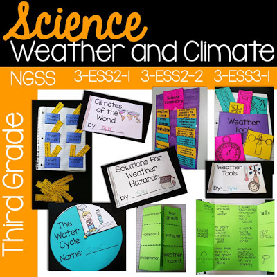 This third grade unit on weather and climate aligns to NGSS* standards 3-ESS2-1, 3-ESS2-2, 3-ESS3-1. It covers weather tables and graphs, solutions for weather hazards, weather tools, and climates of the world. Included are mini books, hands on science activities, non-fiction passages, practice pages, interactive notebook pages, and much more!