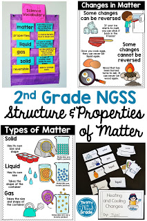 2nd Grade NGSS unit on structure and properties of matter. Students will learn about solids, liquids, and gases, as well as the properties of matter. Students will also learn about building objects from a set of pieces and heating and cooling changes that are reversible and nonreversible. There are mini books, posters, vocabulary, interactive notebook pieces, and many hands on science activities to keep students engaged in their learning.