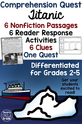 Comprehension Quests are a fun way to practice nonfiction reading passages along with standards aligned reader response activities. You can use this quest to teach your students about Titanic! After each passage, students will earn a clue that gets them one step closer to solving the quest!