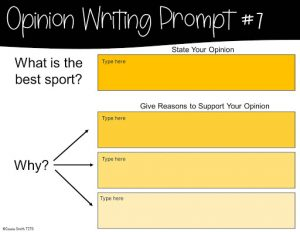 Example Opinion Writing Prompt for Google Classroom