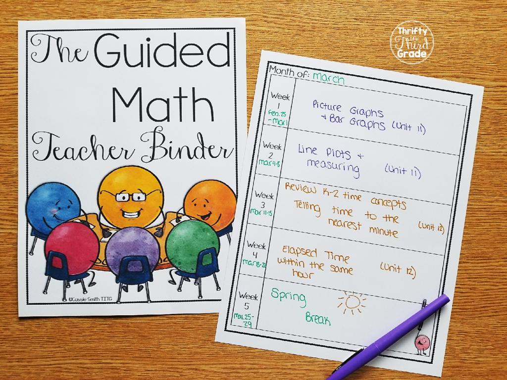 Guided Math Teacher Binder Calendar Page