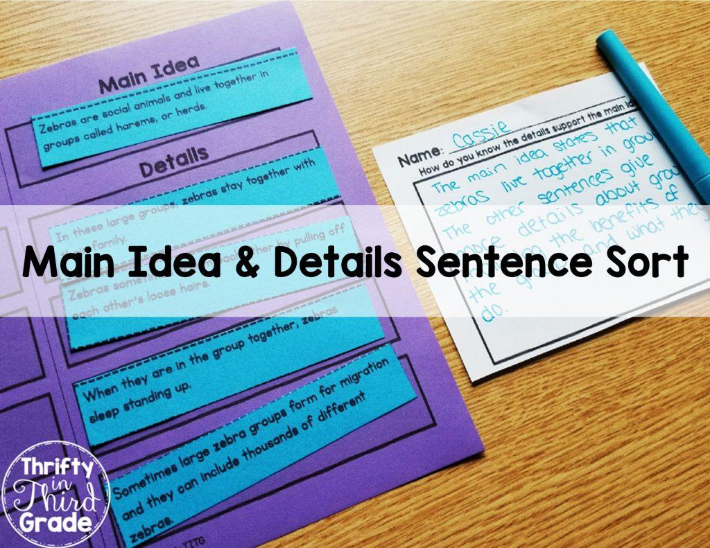 Main Idea and Details Sentence Sort Activity