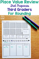 It is important to review second grade place value skills with a purpose to prepare third graders for the standards they will be taught. Instead of simply reviewing hundreds, tens, and ones, use this free download to help prepare your students for rounding!