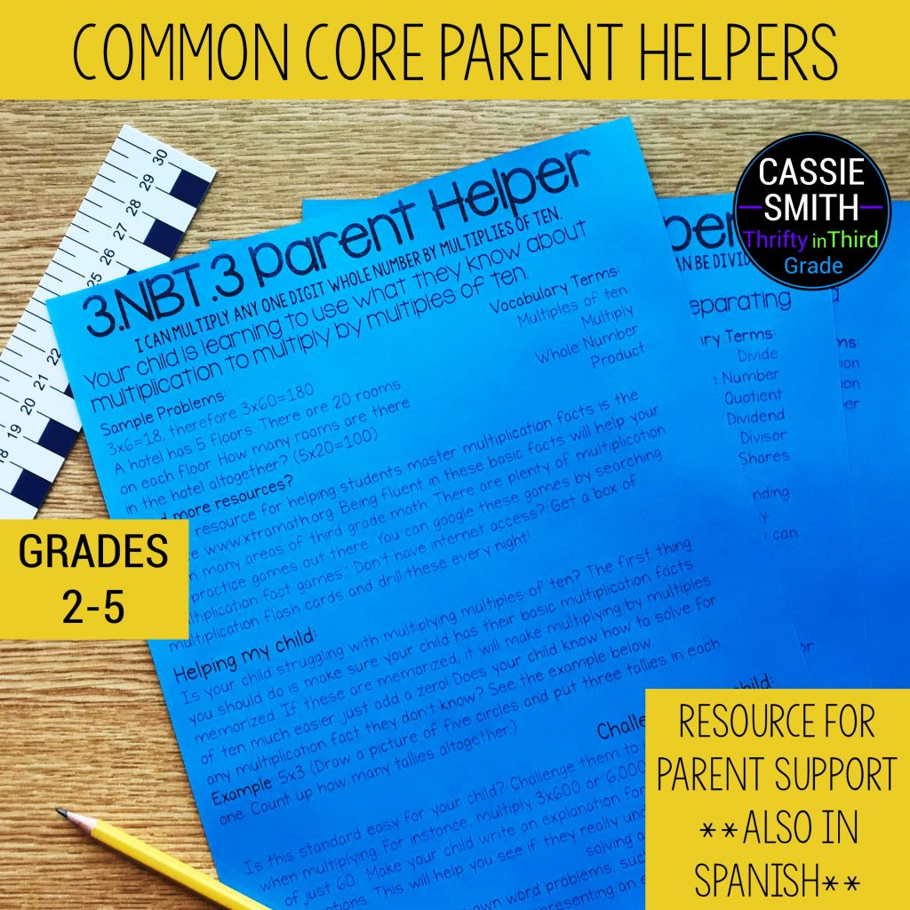 Common Core Parent Handouts for Math and Reading (in English and Spanish)