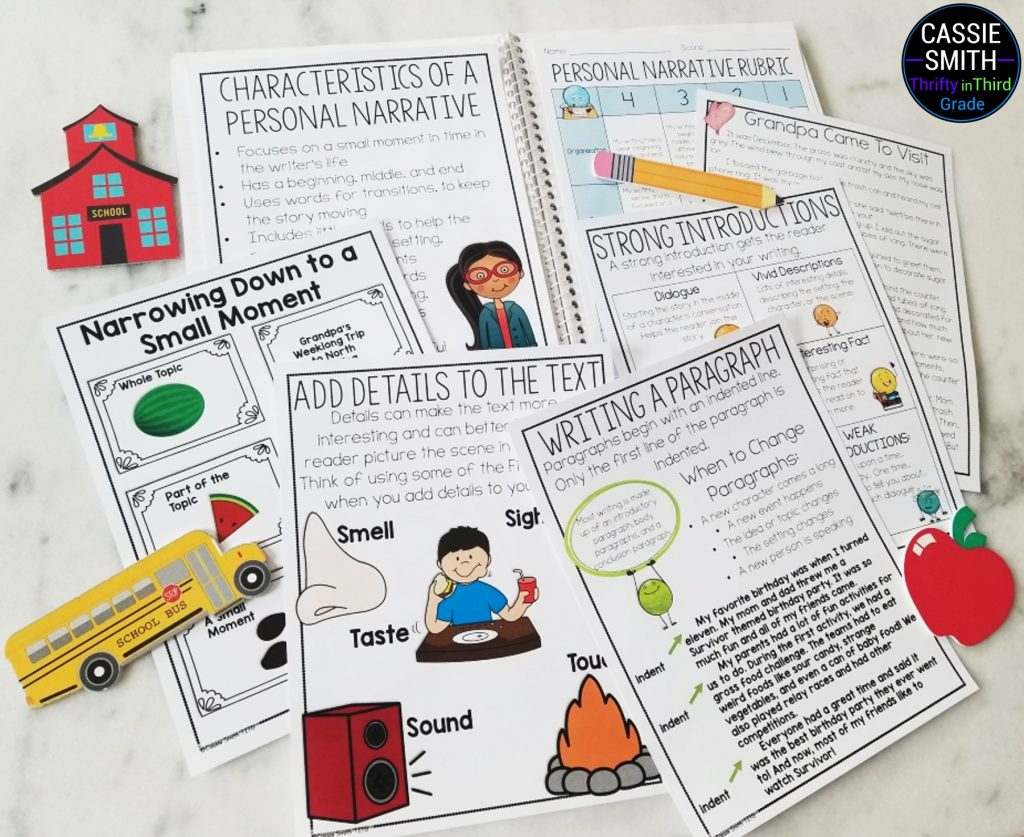 Personal narrative graphic organizer, posters, rubric, mentor text