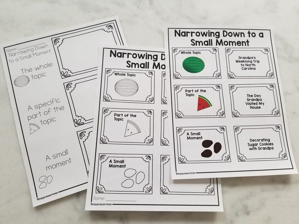 Personal Narrative Writing Graphic Organizer: Narrowing Down to a Small Moment