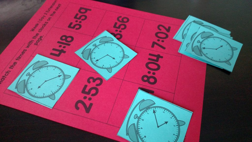 Telling time to the minute bingo board game
