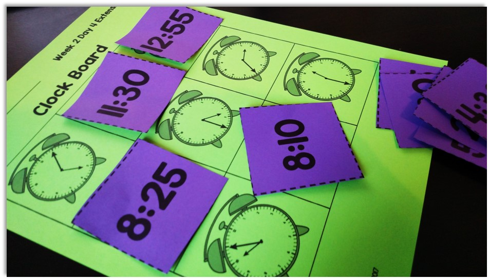 Telling time to the nearest five minute increment bingo board