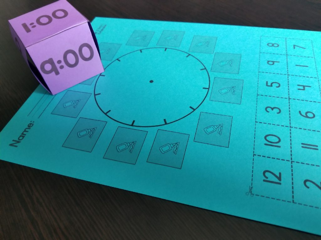 Cut and Glue activity for placing numbers on the face of an analog clock