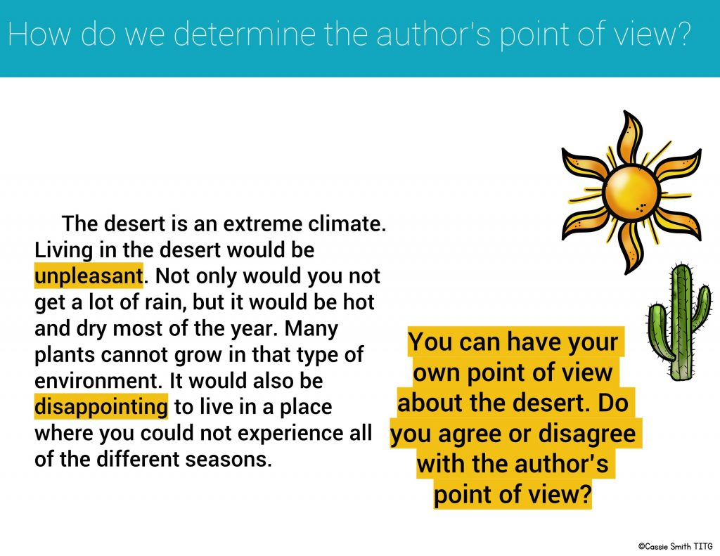 Slide with example paragraph for teaching point of view. Includes highlighted words that explain the author's point of view. Asks students to agree or disagree with point of view.