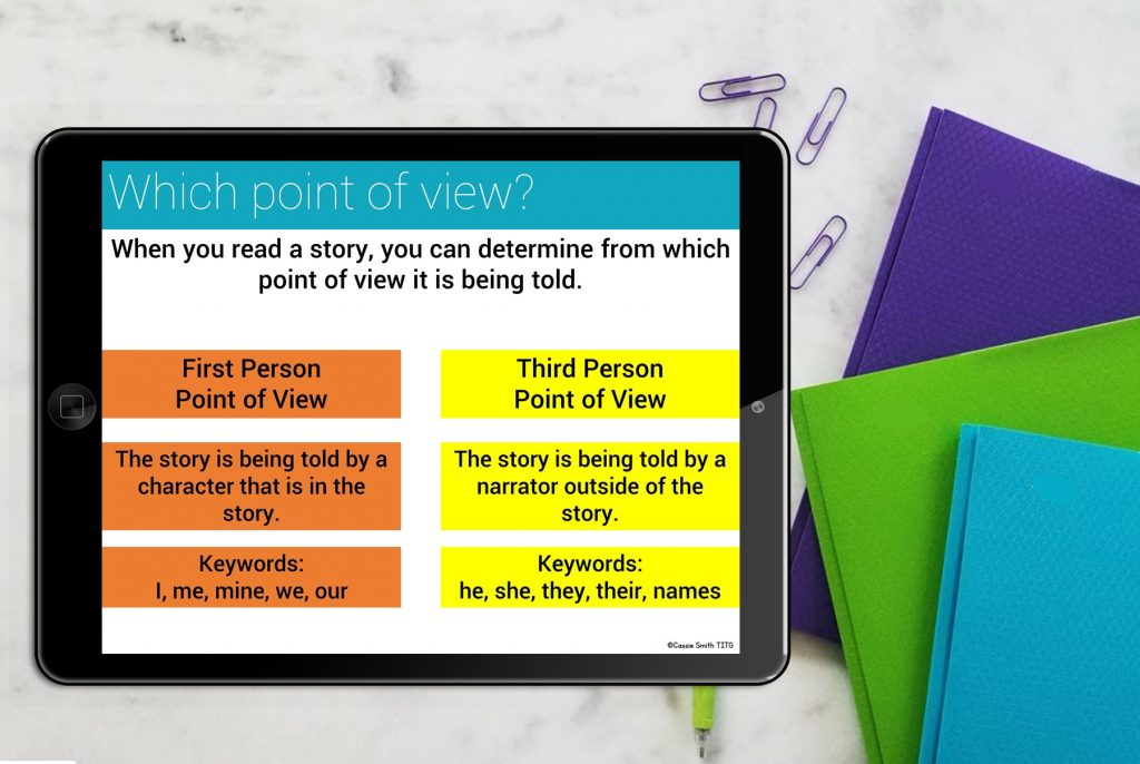 Tablet showing point of view chart with keywords for first and third person.
