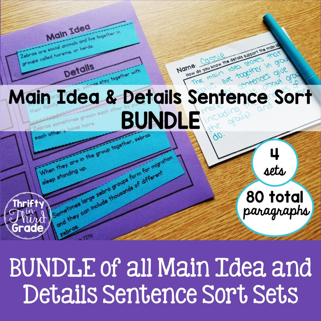Main idea and details sort resource. Bundle of all four sets.